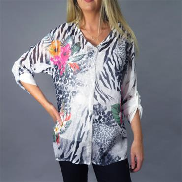 Chiffon Patterned Dark Blue and Grey Blouse by Decollage One Size