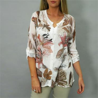 Chiffron Patterned Taupe Blouse by Decollage One Size