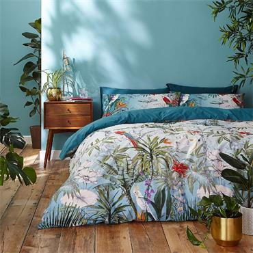 Accessorize Paradise Teal 100% Cotton Reversible Duvet Cover and Pillowcase Set