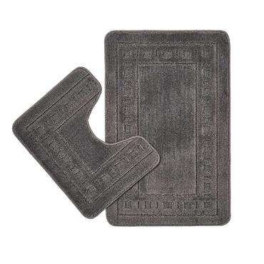 Armoni Grey Bath and Pedestal Mat Set - CL