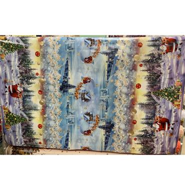 Oil Cloth - B - Santa in the Snow