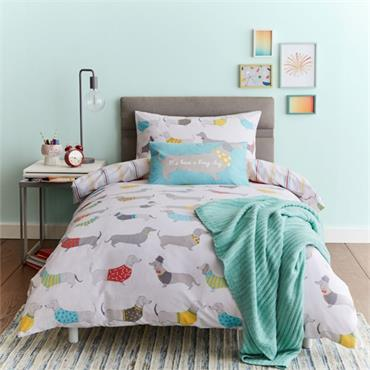 Silly Sausage Dog Easy Care Reversible Duvet Cover Set - Double