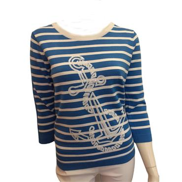 Leo & Ugo Blue and White Stripe Sweater