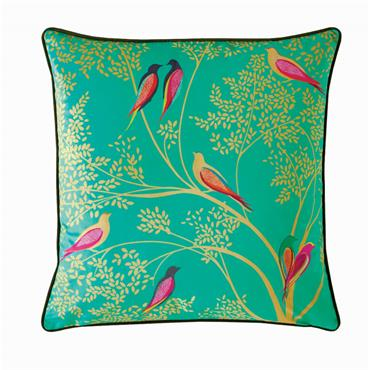 Green Birds Green Feather Cushion 50x50cm by Sara Miller