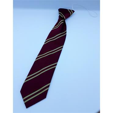 Wine w/ Two Gold Stripes Elastic Tie