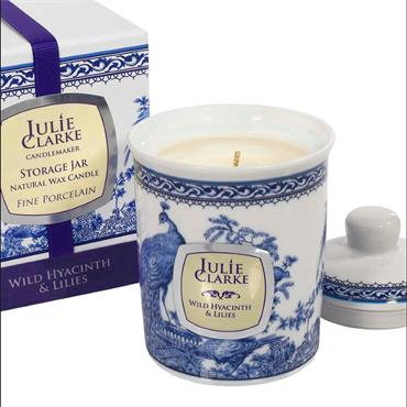 Wild Hyacinth & Lilies Blue Peacock Storage Jar Candle - Julie Clarke