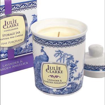 Lavender & Garden Angelica Blue Peacock Storage Jar Candle