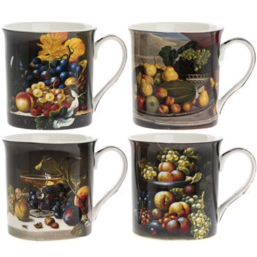 Boxed Still Life China Mug Set (x4)