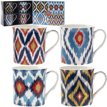 4 x China Mugs with Modern Zig Zag designs