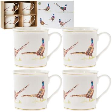Boxed Pheasant China Mug Set (x4)