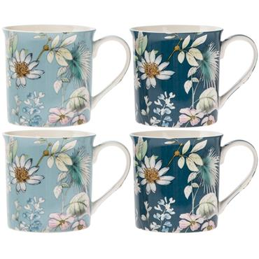 Boxed Shades of Blue floral China Mug Set (x4)