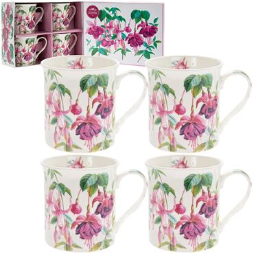 Fuchsia Boxed China Mug Set (x4)