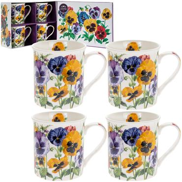 Boxed Pansy China Mug set of 4