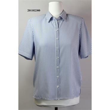 Erfo Short Sleeved Blouse with Blue/White Stripe