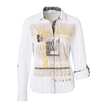 Just White Crinkle Look Blouse with Abstract Animal Print on Front