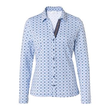 Just White Blouse with Blue Stripe & Navy/Red Dot