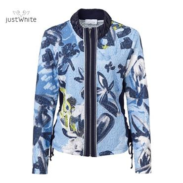 Just White Blue and Navy Patterned Jacket