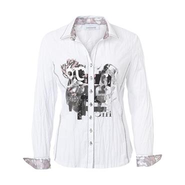 Just White Blouse with Silver and Pink Design