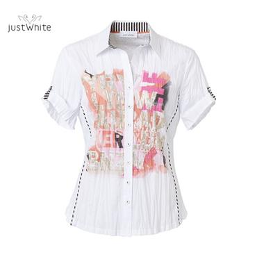 Just White Blouse with Pink, Gold and Coral Design