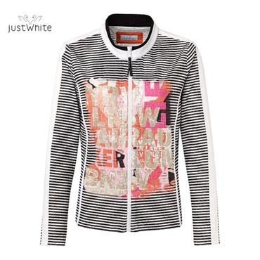 Just White Black and White Stripped Jacket with Coral and Pink Design