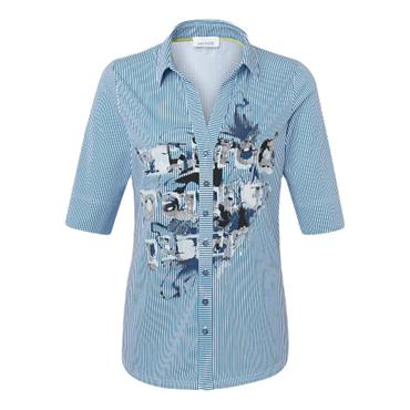 Just White Blue & White Stripped Patterned Blouse