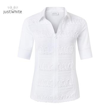 Plain White Zipped Blouse by Just White
