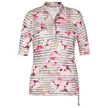 Rabe Floral/Stripe Pattern Polo Shirt