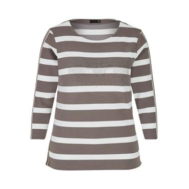 Rabe Taupe & White Stripe Top with Glitter Design
