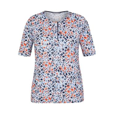 RABE Navy, Orange and White Patterned Top