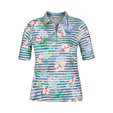 Rabe Blue and White Stripped Floral Design Polo