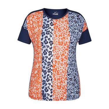 RABE Navy, Orange and Blue Floral Design Top