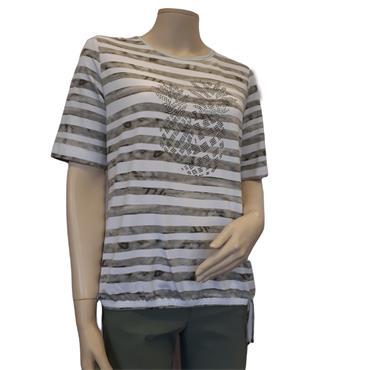 Rabe Khaki & White Stripe Jersey Top