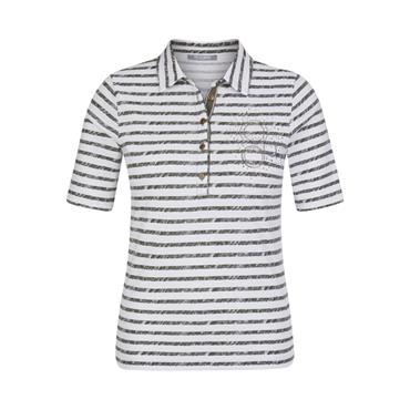 Khaki and White Stripe Jersey Polo Shirt