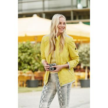 Crinkle Look Lightweight Jacket by Barbara Lebek - Lemon