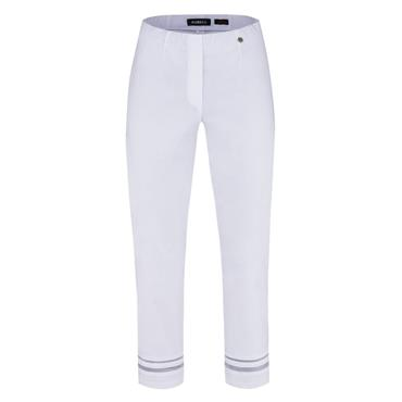 ROBELL Marie-09 7/8 Trousers with Mesh Insert at Hem - White
