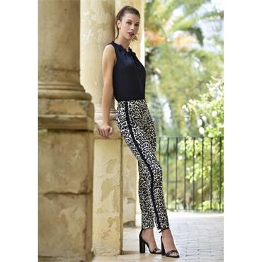 ROBELL Rose Leopard Print Trousers with Black Stripe
