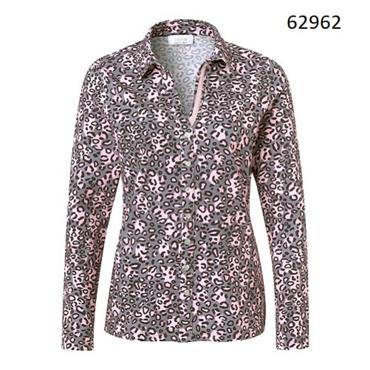 Just White Blouse with Abstract Animal Print