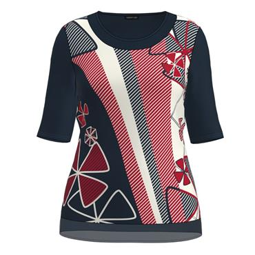 Barbara Lebek Navy, Red and White Short Sleeve Top