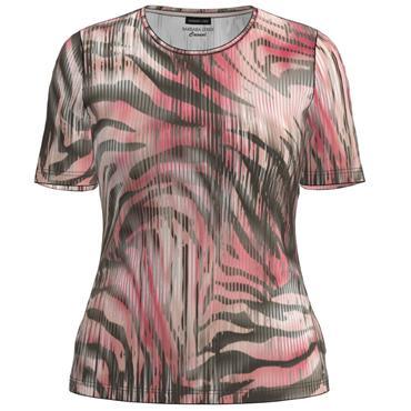 Barbara Lebek Khaki & Pink Short Sleeve Top