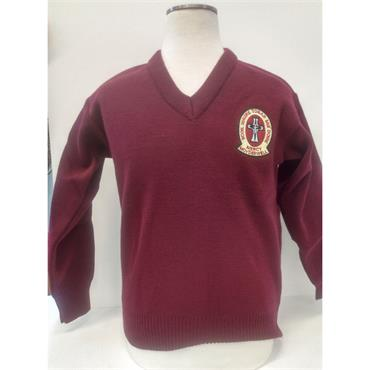 Moyderwell Primary V-Neck Wine Sweater - 100% Acrylic