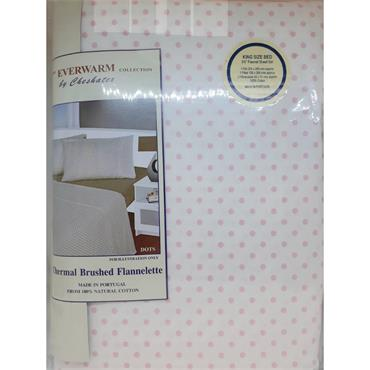 Spots Design Pink Flannelette Sheet Sets
