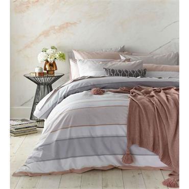 Bianca Blush Cotton Stripe Pink Grey Duvet Set