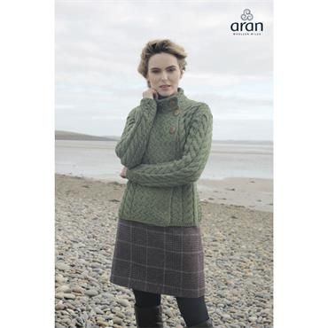 Aran Woolen Mills 3 Button Cardigan - Meadow Green