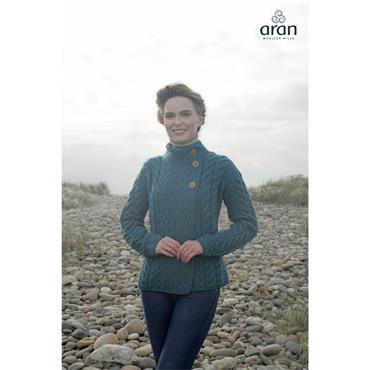 Aran Woolen Mills 3 Button Cardigan - Irish Sea