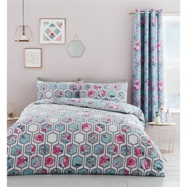 Catherine Lansfield Hexagon Floral Duvet Set Teal