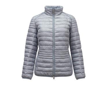 Silver/Grey Check Puffa Style Short Jacket by Barbara Lebek