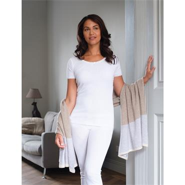 Ladies White Thermal Short Sleeve Top by Vedoneire