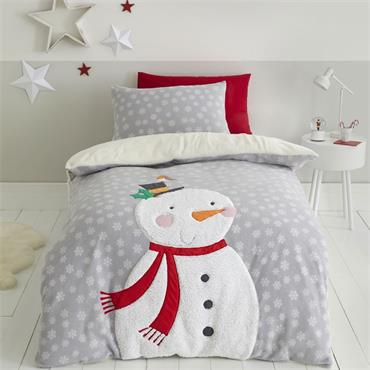 Cosy Snowman Fleece Grey Duvet Set from Catherine Lansfield