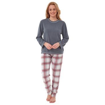 Check Fleece Pyjama Slate
