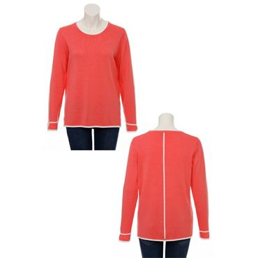 Coral Sweater with White Stripe Via Appia